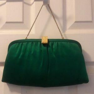Vintage Green satin clutch